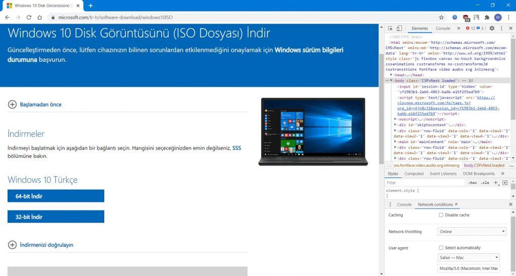 Bit Sürümünü seçin ve Windows 10'u indirin