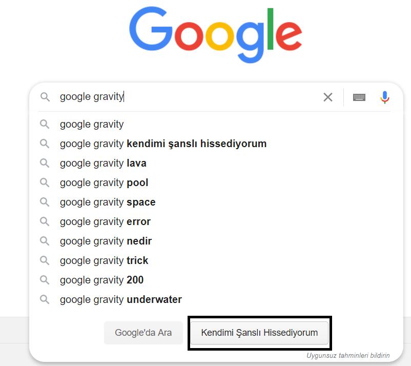 Google Instant Predictions'tan Kendimi Şanslı Hissediyorum Seçimi